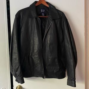 GAP Leather Classic Vintage Jacket with Zipper